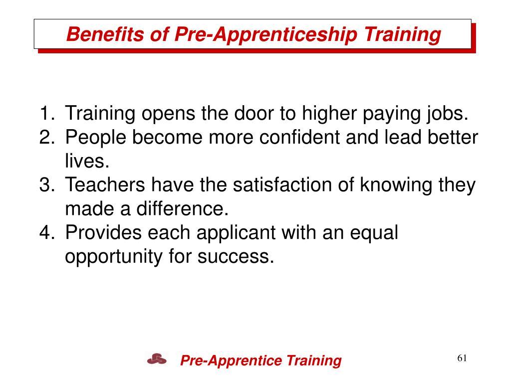 Benefits of Pre-Apprenticeship Training