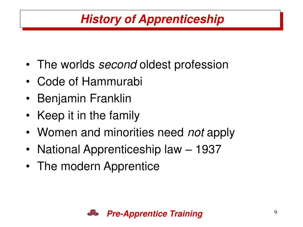 History of Apprenticeship