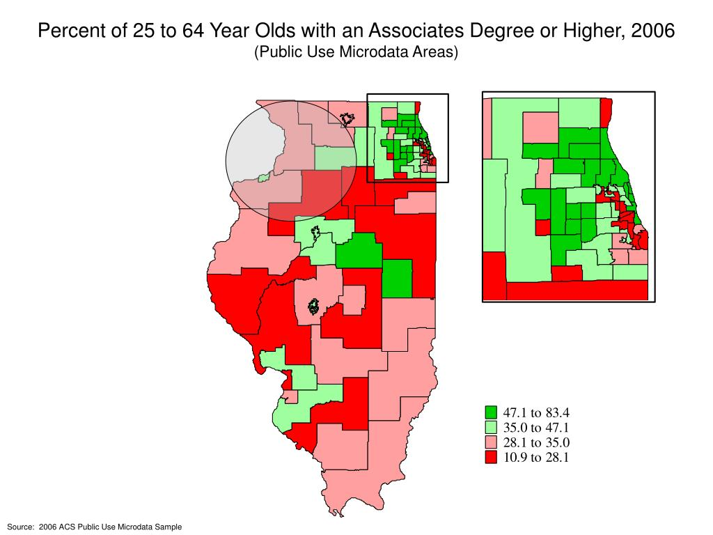 Percent of 25 to 64 Year Olds with an Associates Degree or Higher, 2006