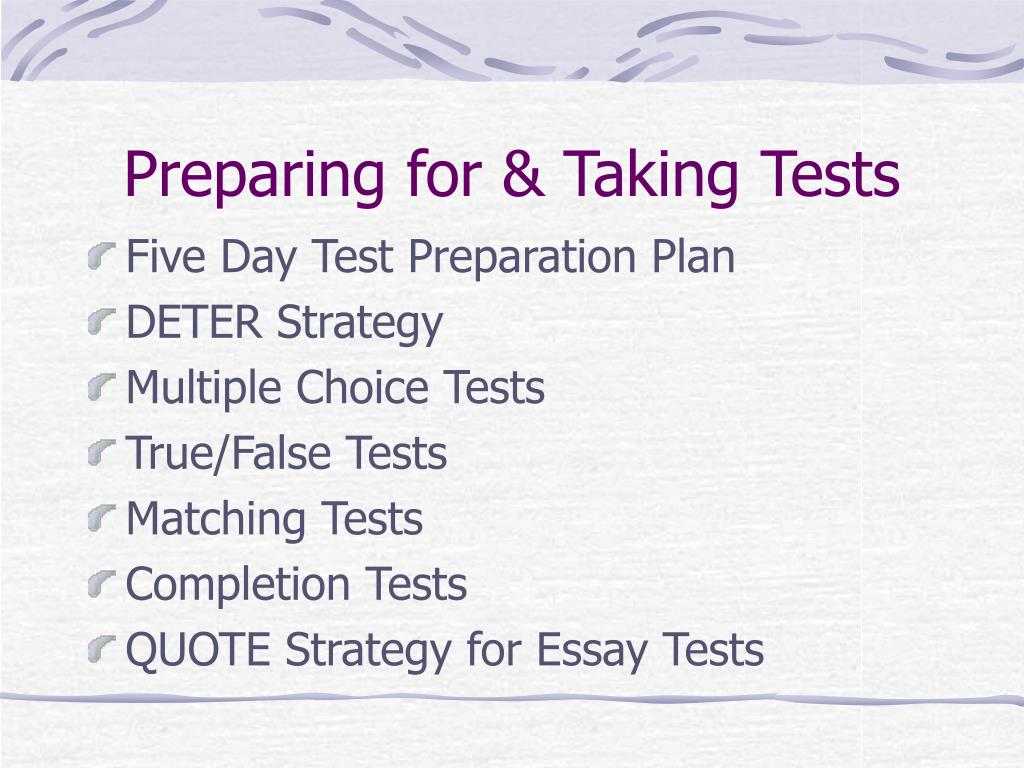 Preparing for & Taking Tests