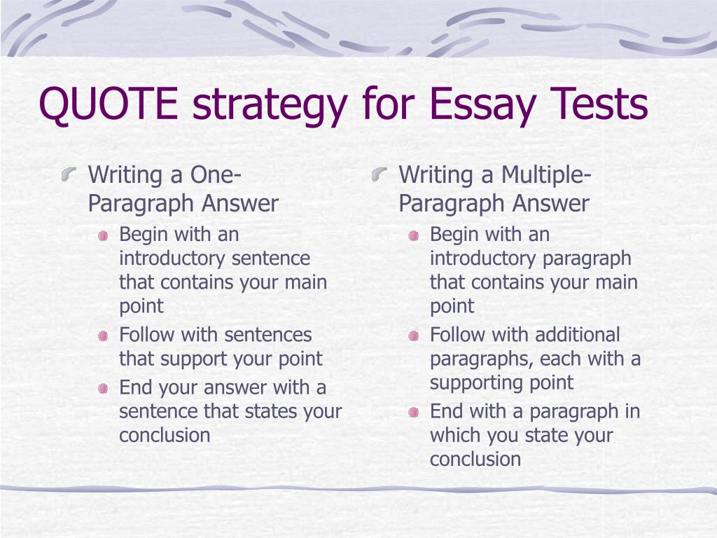 Writing a One-Paragraph Answer