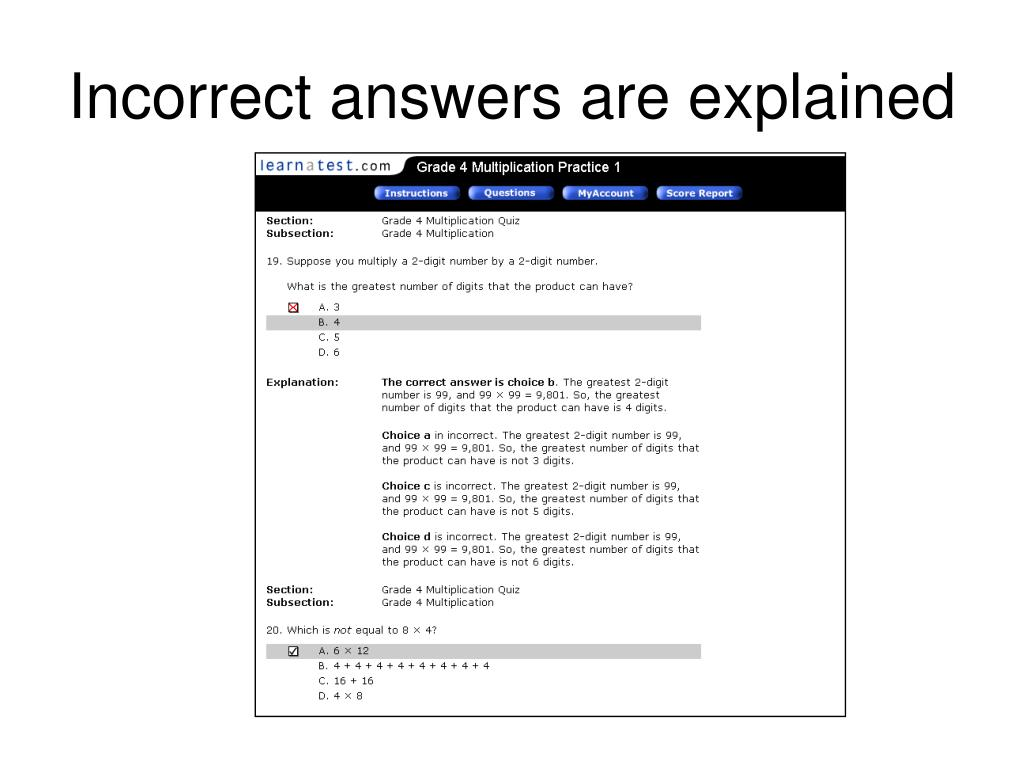 Incorrect answers are explained