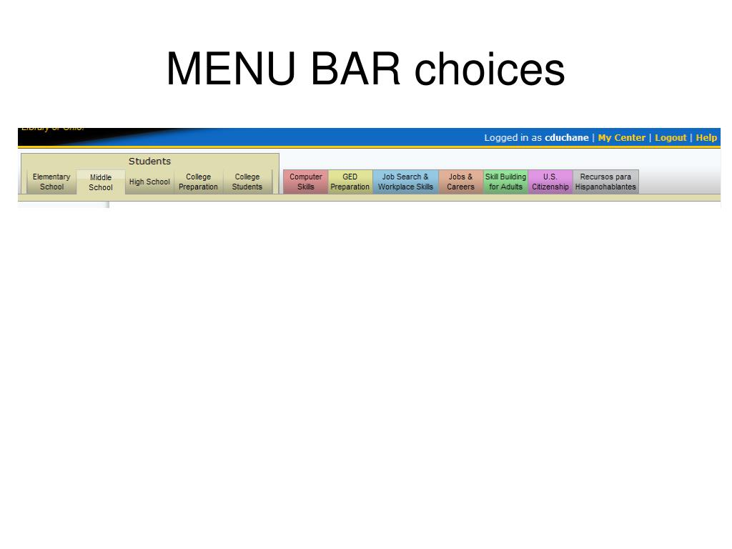 MENU BAR choices