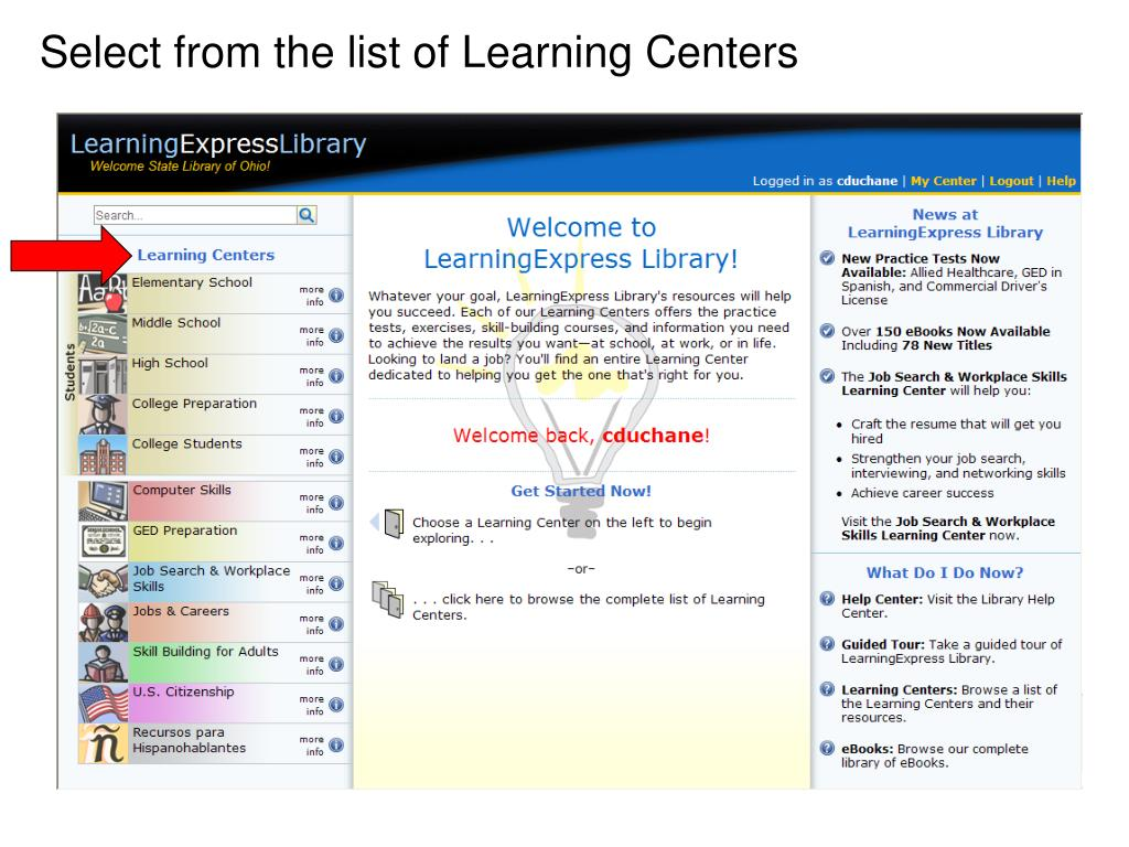 Select from the list of Learning Centers