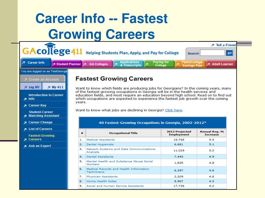 Career Info -- Fastest Growing Careers