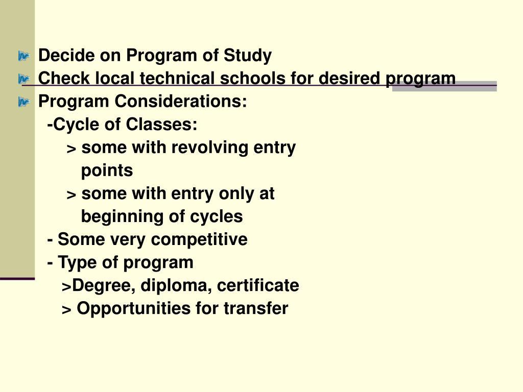 Decide on Program of Study