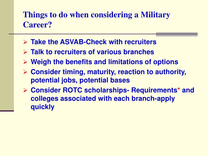 Things to do when considering a military career