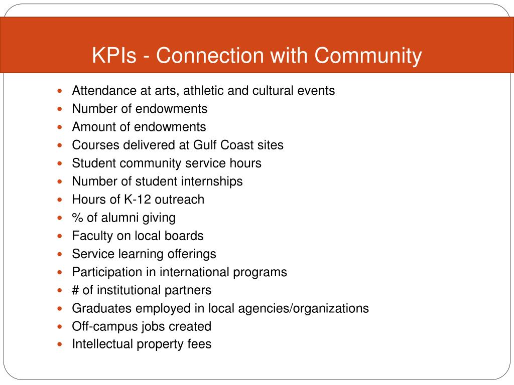 KPIs - Connection with Community