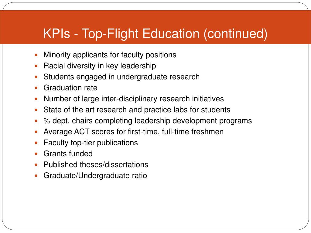 KPIs - Top-Flight Education (continued)