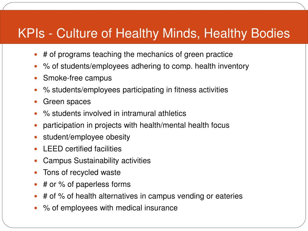 KPIs - Culture of Healthy Minds, Healthy Bodies