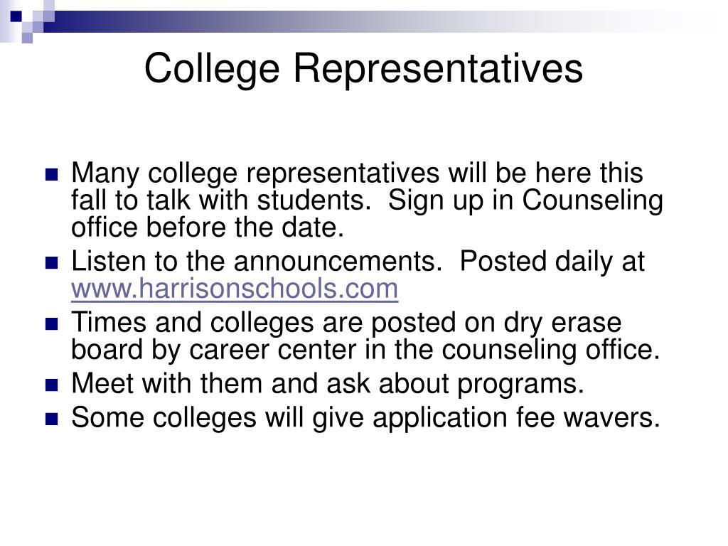 College Representatives
