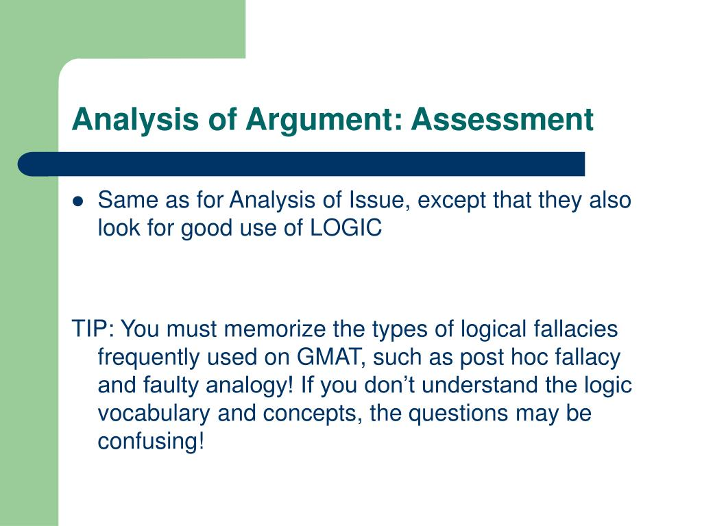 Analysis of Argument: Assessment