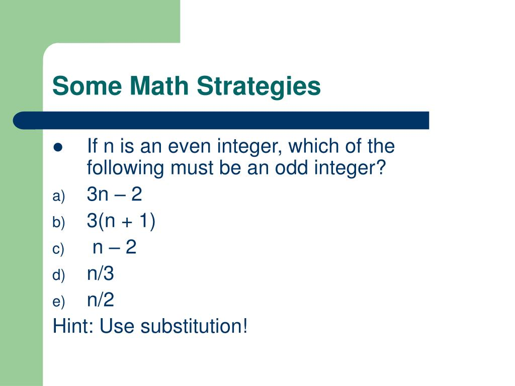 Some Math Strategies