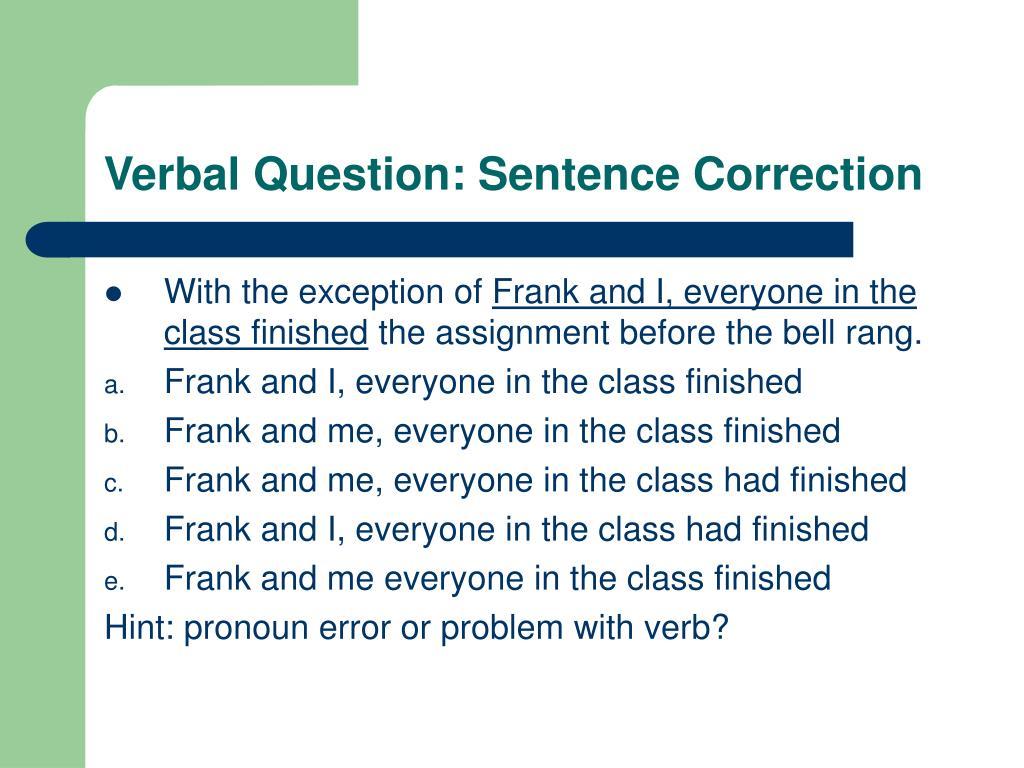 Verbal Question: Sentence Correction