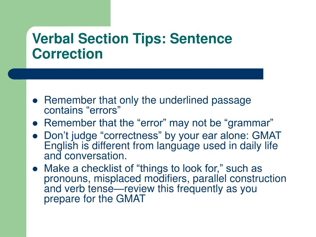 Verbal Section Tips: Sentence Correction