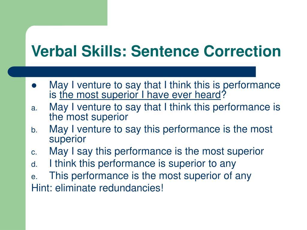 Verbal Skills: Sentence Correction