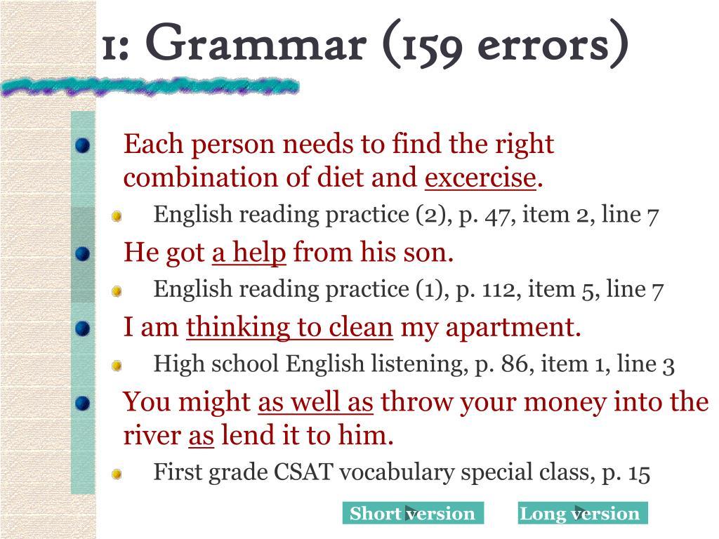 1: Grammar (159 errors)