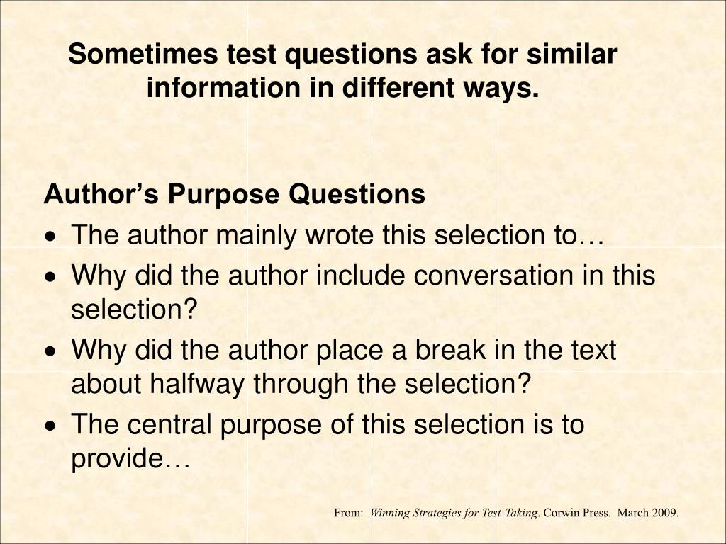 Author's Purpose Questions