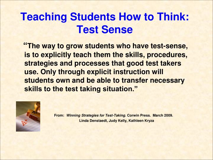 Teaching students how to think test sense