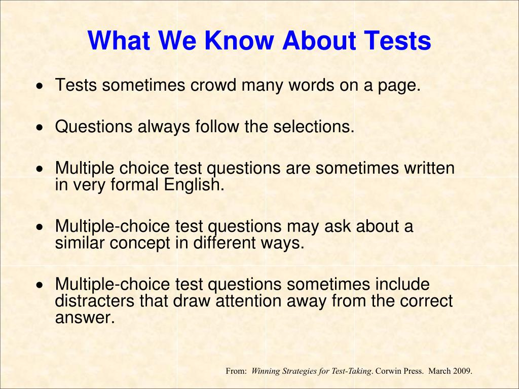 What We Know About Tests