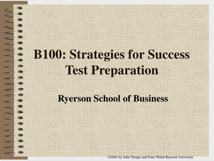 B100 strategies for success test preparation