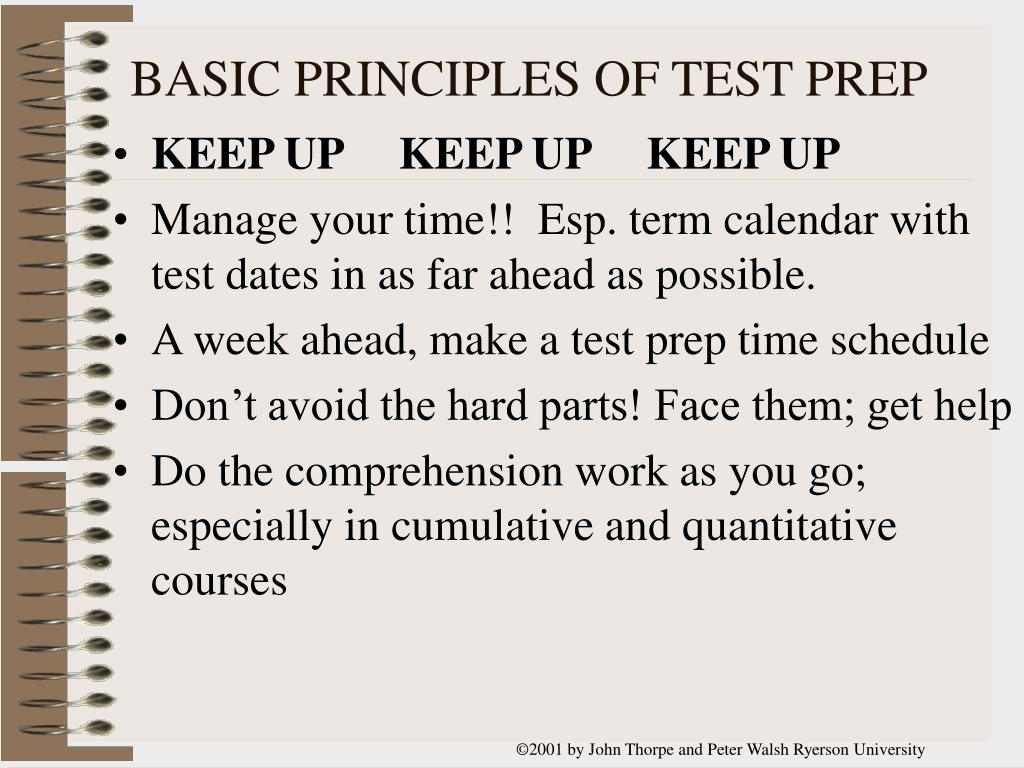 BASIC PRINCIPLES OF TEST PREP