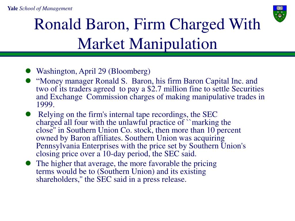 Ronald Baron, Firm Charged With Market Manipulation