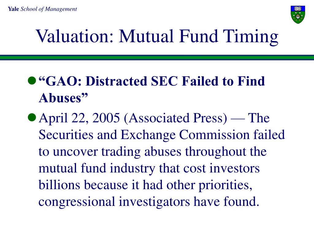 Valuation: Mutual Fund Timing