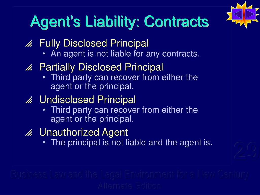 Agent's Liability: Contracts