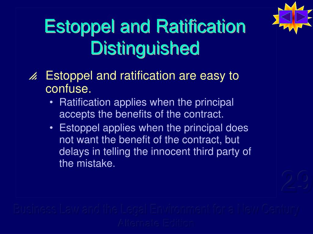 Estoppel and Ratification Distinguished