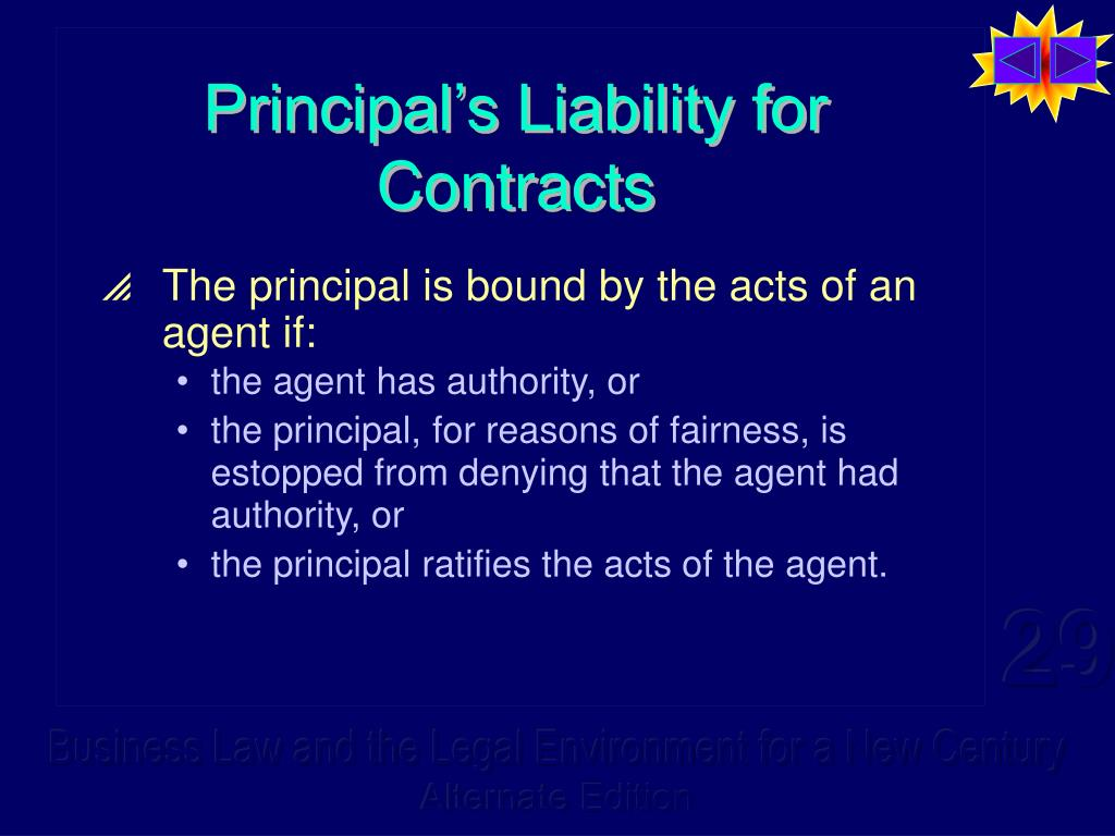 Principal's Liability for Contracts