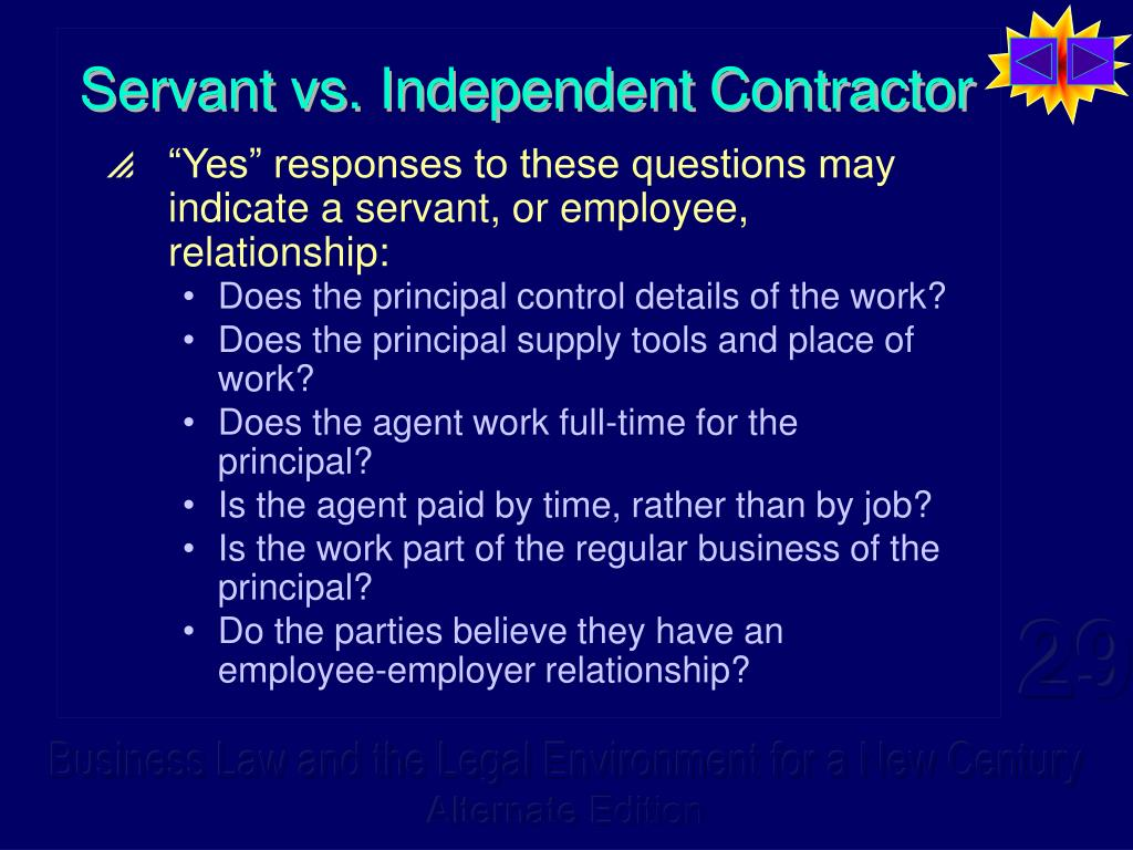 Servant vs. Independent Contractor