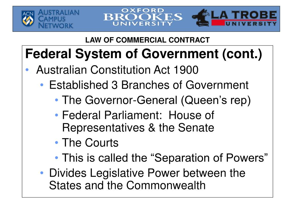 Federal System of Government (cont.)