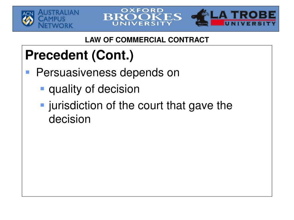 Precedent (Cont.)