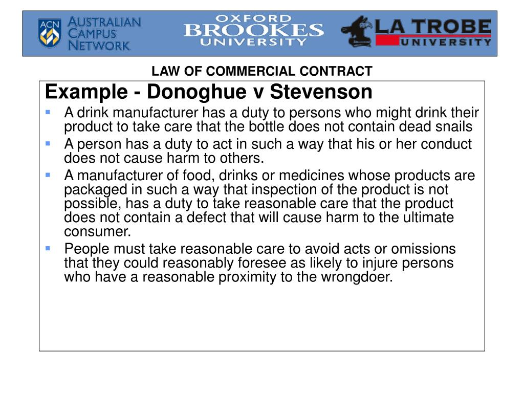 Example - Donoghue v Stevenson