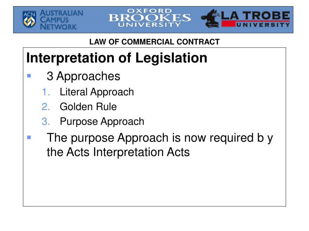 Interpretation of Legislation