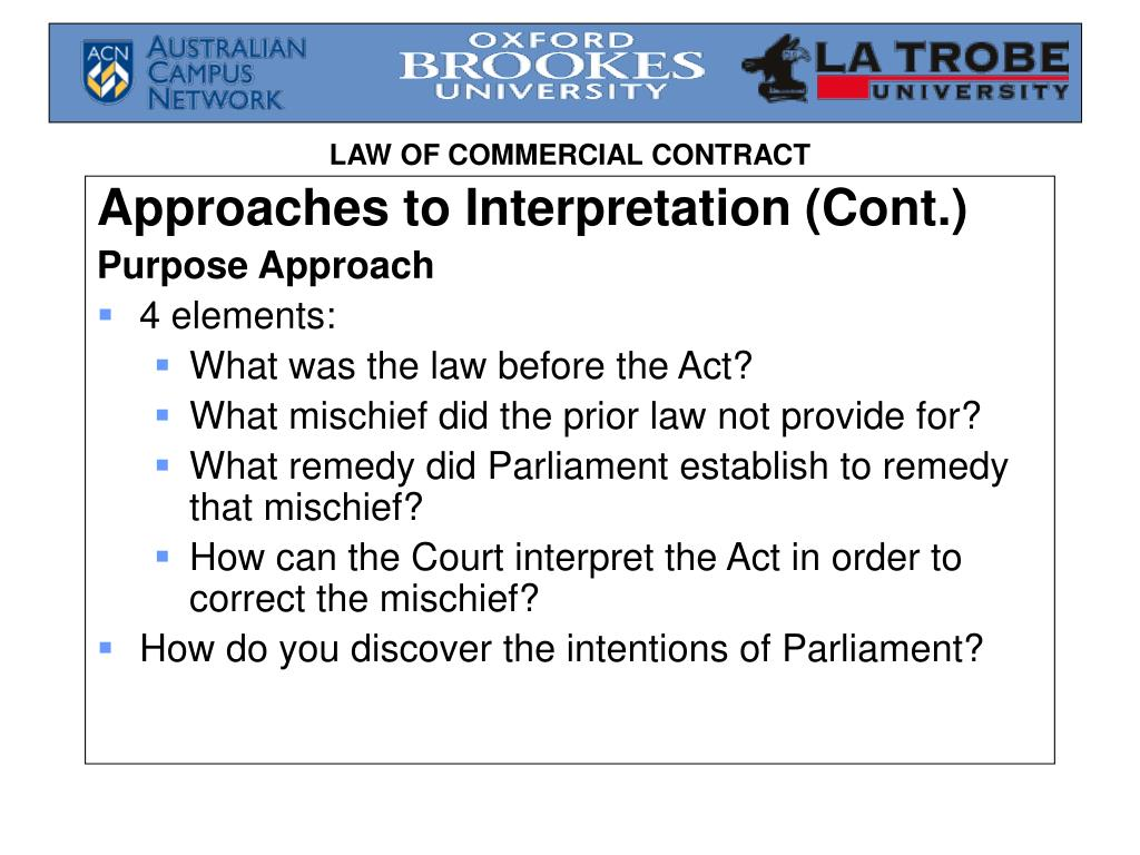 Approaches to Interpretation (Cont.)