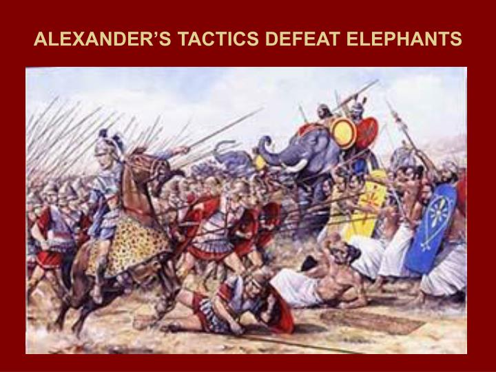 ALEXANDER'S TACTICS DEFEAT ELEPHANTS