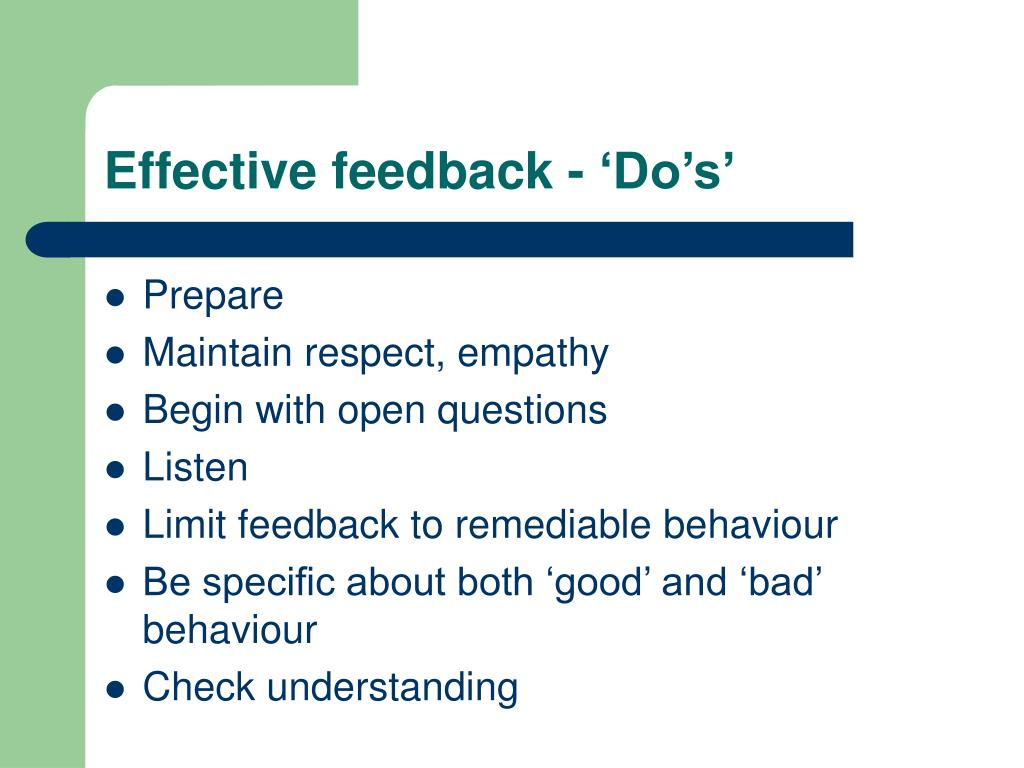 Effective feedback - 'Do's'