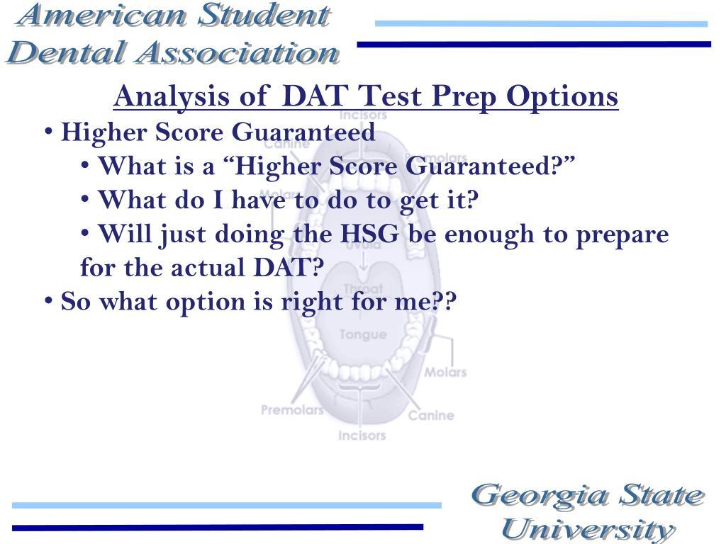Analysis of DAT Test Prep Options