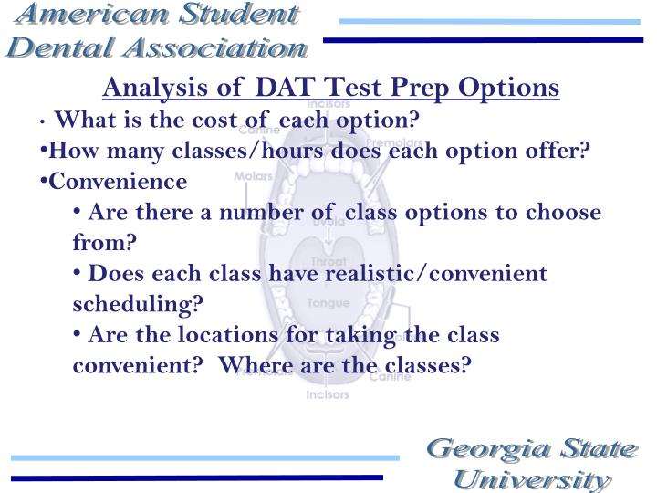 Analysis of DAT Test Prep Options