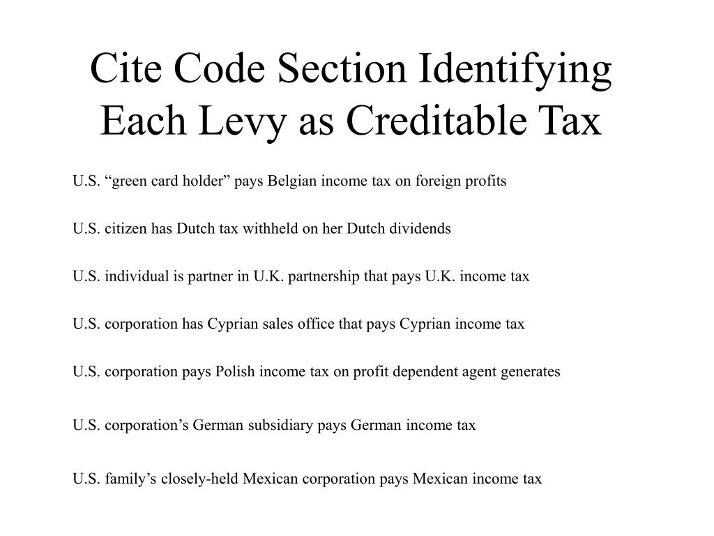 Cite Code Section Identifying Each Levy as Creditable Tax