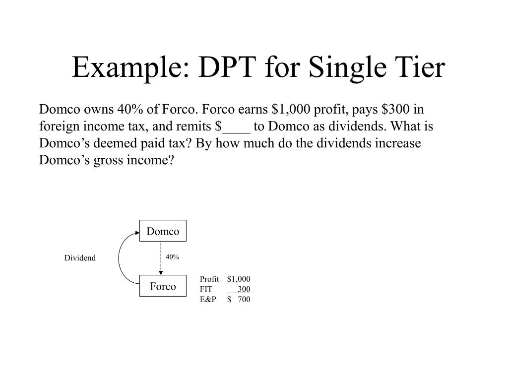Example: DPT for Single Tier