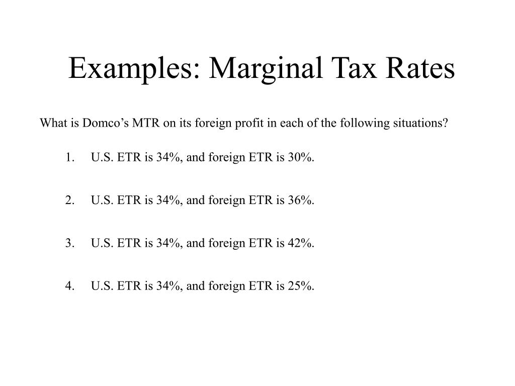 Examples: Marginal Tax Rates