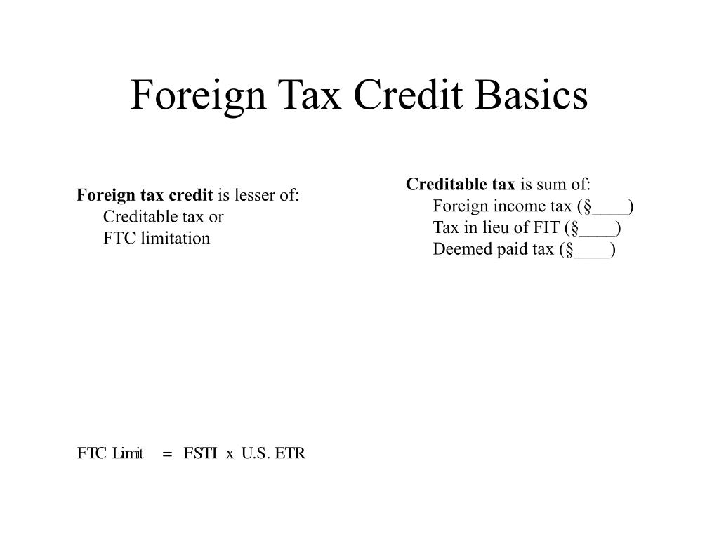 Foreign Tax Credit Basics