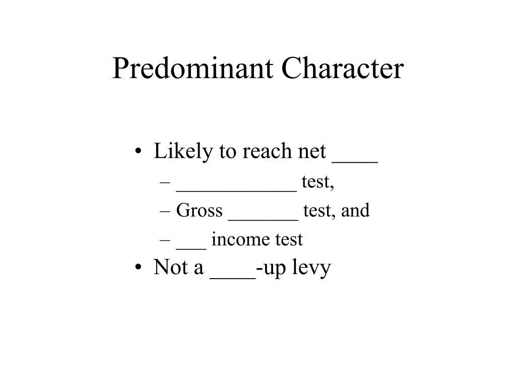 Predominant Character