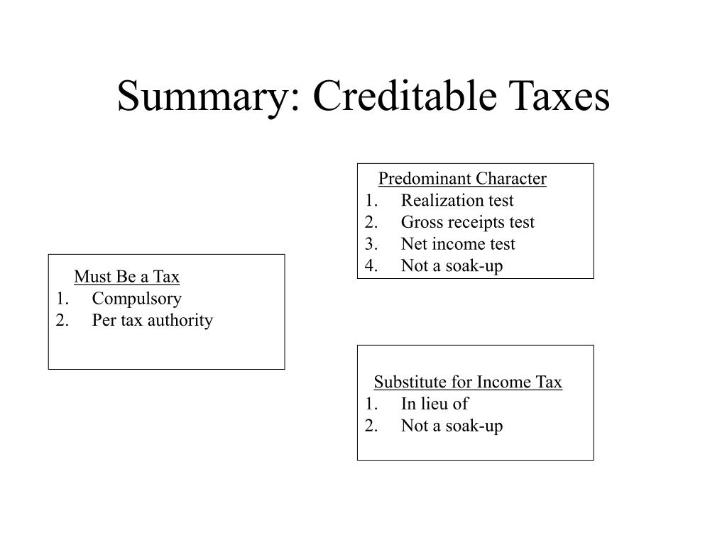 Summary: Creditable Taxes
