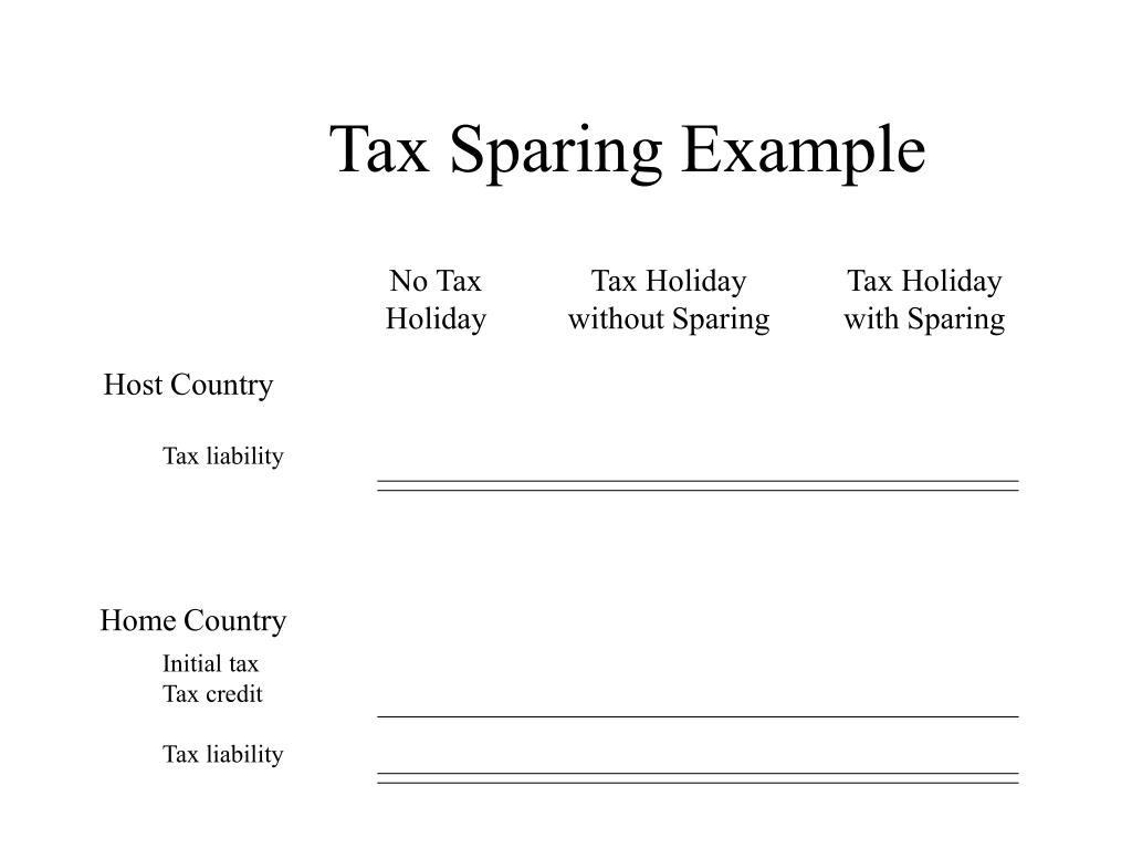 Tax Sparing Example