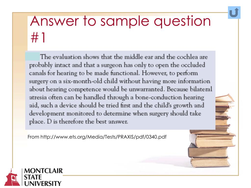 Answer to sample question #1