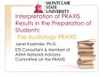 interpretation of praxis results in the preparation of students the audiology praxis